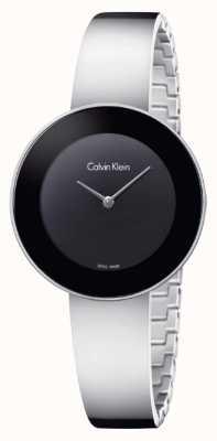 Calvin Klein Dial elegante negro del brazalete del acero inoxidable de la mujer K7N23C41