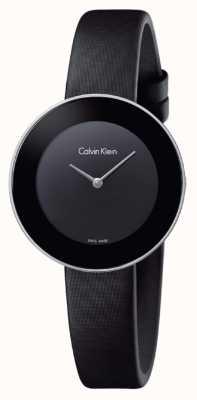 Calvin Klein Correa de cuero negro elegante de la mujer del negro de la mujer K7N23CB1