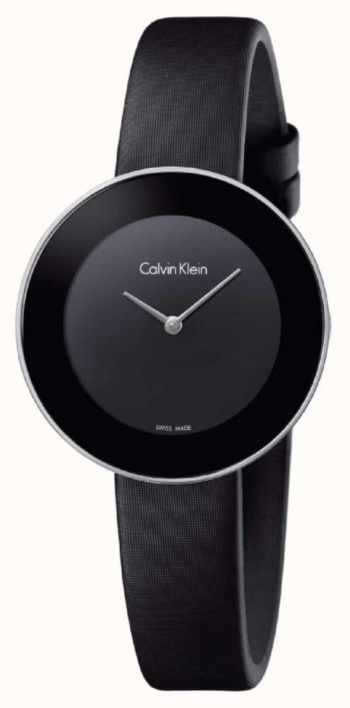 9ccee2941d4e Calvin Klein Correa De Cuero Negro Elegante De La Mujer Del Negro De ...