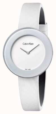 Calvin Klein Correa de cuero blanco elegante de la mujer blanca K7N23TK2