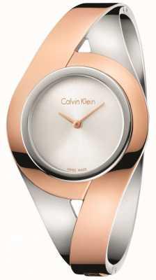 Calvin Klein Womans sensual dos tonos de acero inoxidable brazalete de plata dial s K8E2S1Z6
