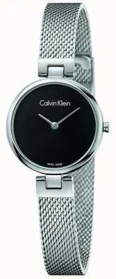 Calvin Klein Womans auténtico acero inoxidable malla pulsera dial negro K8G23121