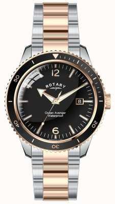 Rotary Mens océano vengador dos tonos dial negro GB02695/04