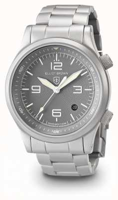 Elliot Brown Mens canford plata y gris pulsera de acero inoxidable 202-018-B06