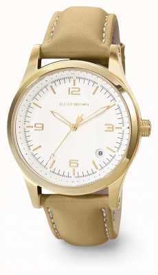 Elliot Brown Womans kimmeridge blanco y caramelo cuero aceitado correa 405-007-L59