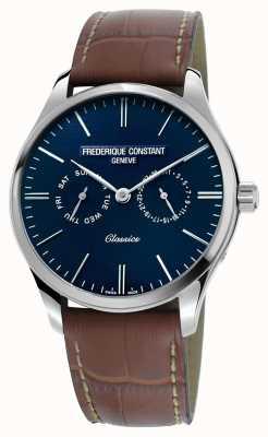Frederique Constant Mens clásico cuarzo marrón correa de cuero esfera azul FC-259NT5B6