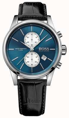 Hugo Boss Mens cronógrafo jet negro correa de cuero esfera azul 1513283