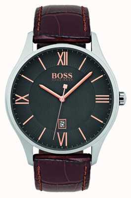 Hugo Boss Reloj de cuero marrón clásico de la correa del gobernador del Mens 1513484