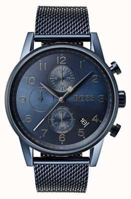 Hugo Boss Reloj azul para hombre del metal del acoplamiento del cronógrafo del navegador 1513538