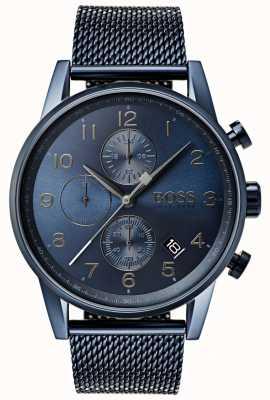 Boss Reloj navigator de malla azul para hombre con reloj de metal. 1513538