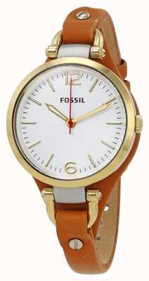 Fossil Reloj de cuero de mujer de georgia tan ES3565