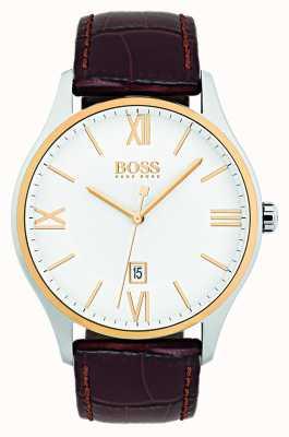 Hugo Boss Reloj de correa de cuero marrón dial clásico blanco para hombre gobernador 1513486