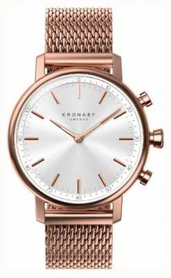 Kronaby 38mm quilates bluetooth oro rosa con malla de malla smartwatch A1000-1400