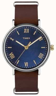 Timex Correa de color marrón azul TW2R28700