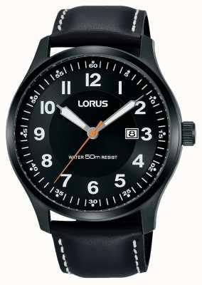 Lorus Hombre urbana vestido pvd negro caso / cuero negro RH941HX9