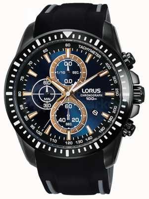 Lorus Mens sport cronógrafo silicona correa azul dial RM353DX9