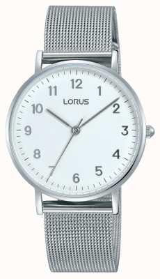 Lorus Correa de malla de plata blanca suave de Womans RH823CX9