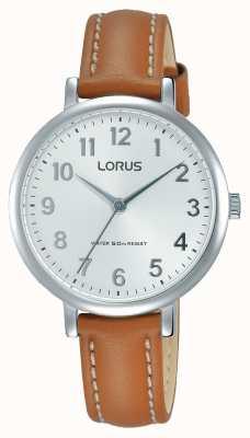 Lorus Correa de cuero marrón suave del dial de la mujer RG237MX7