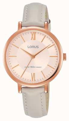 Lorus Correa de cuero de la correa del oro de la rosa del sunray de la mujer RG264MX9