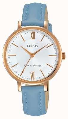 Lorus Correa de cuero azul suave de la mujer del sunray de la correa RG264LX5