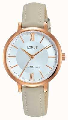 Lorus Correa de cuero gris suave de la mujer del reloj del sunray RG264LX7