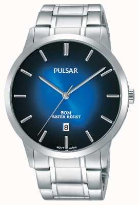 Pulsar Mens pulsera de plata de acero azul gradación dial PS9527X1
