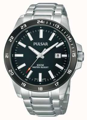 Pulsar Mens pulsera de acero inoxidable negro dial PS9223X1
