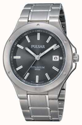 Pulsar Mens pulsera de titanio gris dial PS9125X1