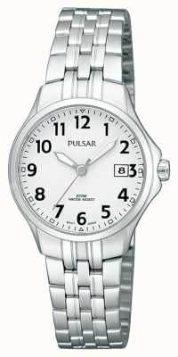 Pulsar Womans pulsera de acero inoxidable simple esfera blanca PH7221X1