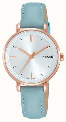 Pulsar Womans azul pastel de cuero correa de plata dial PH8344X1