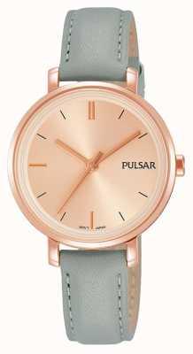 Pulsar Correa de cuero azul gris de la mujer blush rosa dial PH8366X1