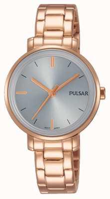 Pulsar Womans rosa de oro pulsera de acero inoxidable gris dial PH8362X1