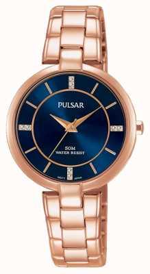 Pulsar Womans rosa oro pulsera de acero inoxidable esfera azul PH8326X1