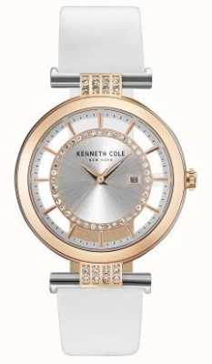 Kenneth Cole La transparencia de Womans marca correa de cuero blanco KC15005002