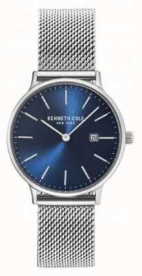 Kenneth Cole Womans correa de malla de acero inoxidable esfera azul KC15057005