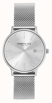 Kenneth Cole Womans acero inoxidable malla pulsera plata dial KC15057007