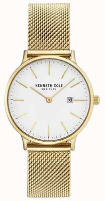 Kenneth Cole Womans chapado en oro de acero inoxidable malla pulsera dial blanco KC15057006