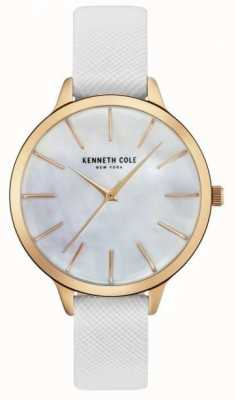 Kenneth Cole Womans cuero blanco de la correa madre de la perla dial KC15056001