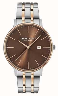 Kenneth Cole Hombres de dos tonos de acero pulsera marrón fecha de marcación KC15095001