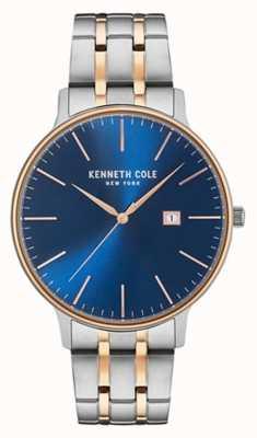 Kenneth Cole Hombres de dos tonos de acero pulsera azul fecha marcar KC15095002