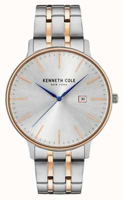 Kenneth Cole Hombres de dos tonos de acero pulsera de la fecha de la fecha de plata +