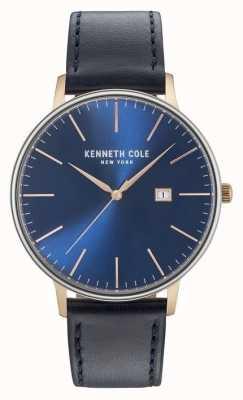 Kenneth Cole Hombres de color azul oscuro fecha dial correa de cuero negro KC15059004
