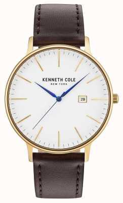 Kenneth Cole Reloj blanco para hombre marrón oscuro correa de cuero KC15059005