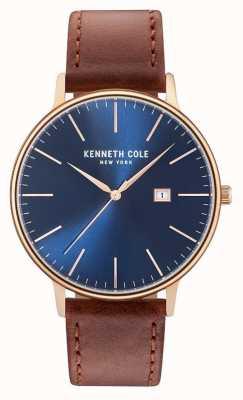 Kenneth Cole Hombres de color azul oscuro fecha marcado marrón correa de cuero KC15059007