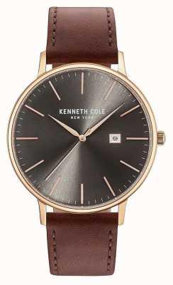 Kenneth Cole Hombres de color oscuro de la pistola de la fecha marrón correa de cuero KC15059008