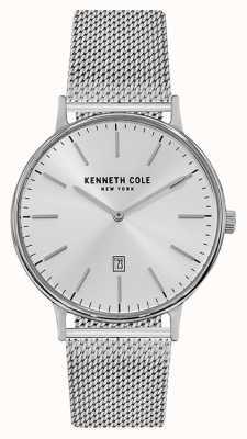 Kenneth Cole Mens de acero inoxidable malla pulsera de la fecha de la fecha de plata KC15057009
