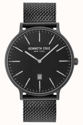 Kenneth Cole Mens negro ion plateado acero malla pulsera negro fecha marcar KC15057012
