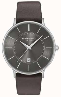 Kenneth Cole Reloj para hombres con marcación de fecha correa de cuero marrón oscuro KC15097005