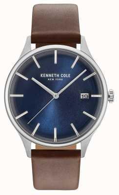 Kenneth Cole Hombres de color azul oscuro fecha marcado marrón correa de cuero KC15112001