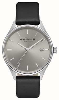 Kenneth Cole Mens luz gris fecha marcado negro correa de cuero KC15112002